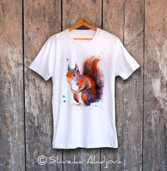 Red squirrel T-shirt, Unisex T-shirt, ring spun Cotton 100%, watercolor print T-shirt, T shirt art, T shirt animal, XS, S, M, L, XL, XXL
