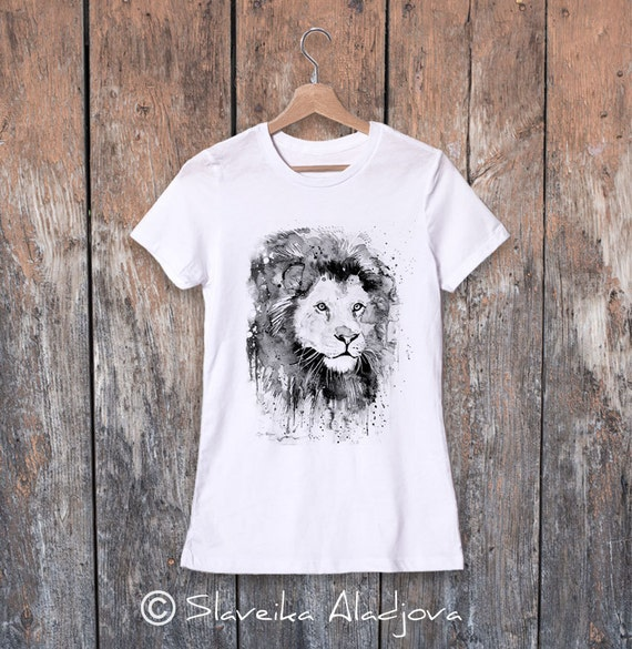 Lion watercolor ladies' T-shirt, women's tees, Teen Clothing, Girls' Clothing, ring spun Cotton 100%, watercolor print
