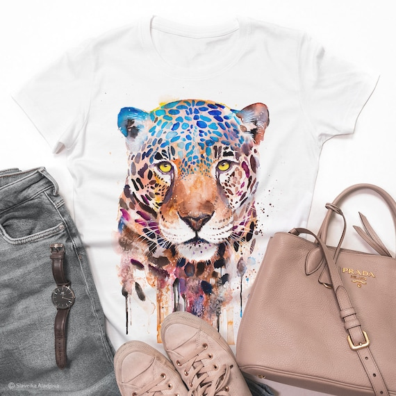 Jaguar T-shirt, Panther unisex T-shirt, Unisex tees, Big cats Lover Gift, watercolor print tee, ring spun Cotton 100%, Colourful print