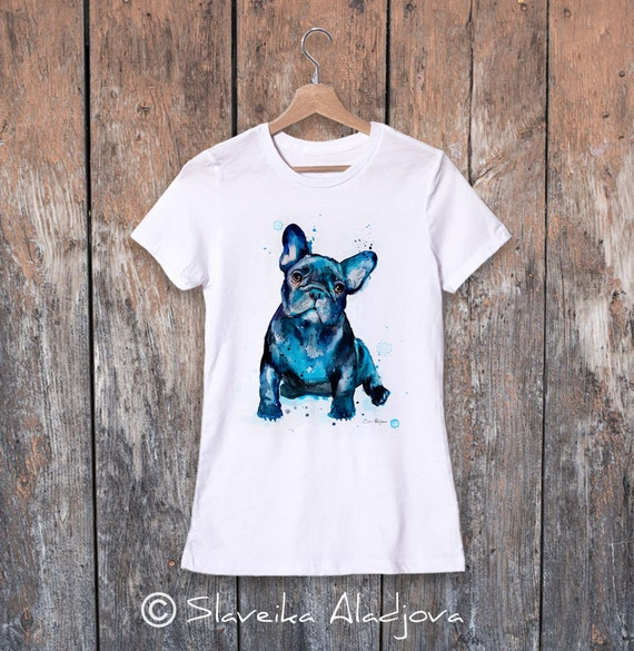 French Bulldog watercolor ladies' T-shirt, women's tees, Teen Clothing, Girls' Clothing, ring spun Cotton 100%, watercolor print T-shirt,art