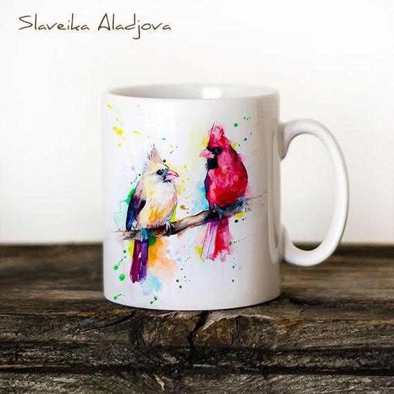 Cardinals Mug Watercolor Ceramic Mug Unique Gift Coffee Mug Animal Mug Tea Cup Art Illustration Cool Kitchen Art Printed mug