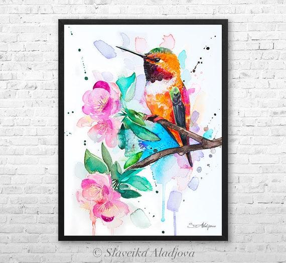 Rufous hummingbird  watercolor framed canvas by Slaveika Aladjova, Limited edition, art, animal watercolor, animal illustration,bird art