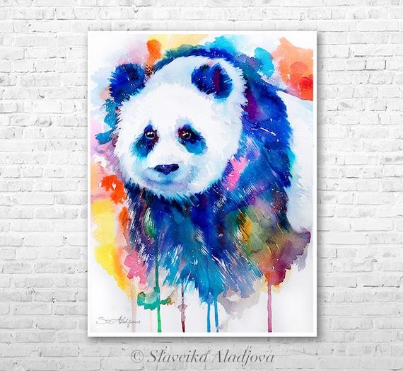 Panda watercolor  painting print by Slaveika Aladjova, art, animal, illustration, home decor, Nursery, gift, Wildlife, wall art, bear