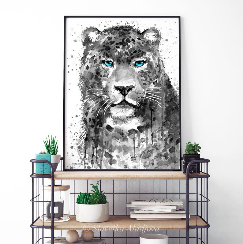 Wildlife wall art illustration animal Black and white Panther Leopard Jaguar watercolor painting print by Slaveika Aladjova home decor