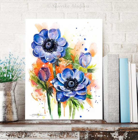 Anemone Flower watercolor painting print by Slaveika Aladjova, illustration, home decor, Contemporary, Australian native plant, Botanical
