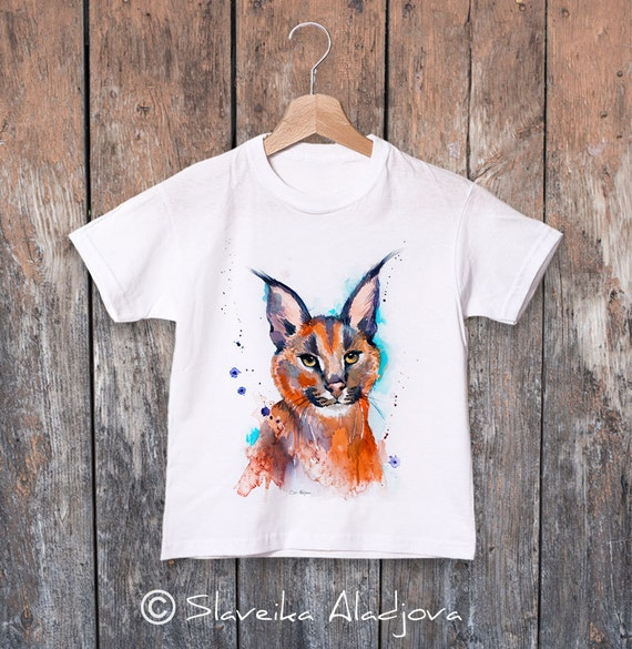 Caracal  watercolor kids T-shirt, Boys' Clothing, Girls' Clothing, ring spun Cotton 100%, watercolor print T-shirt,T shirt art