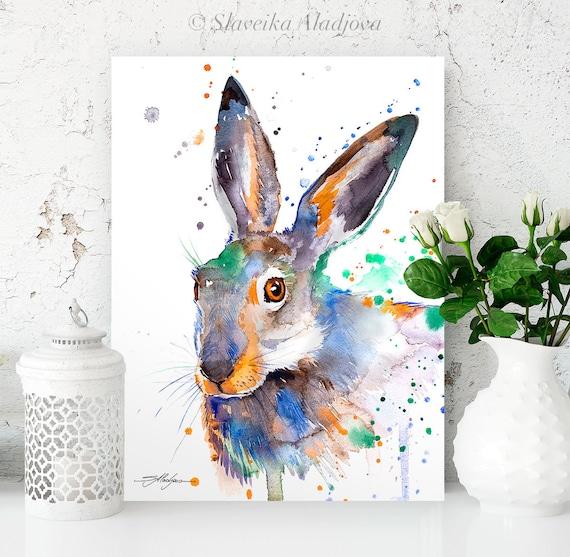 Colorful Jackrabbit watercolor painting print by Slaveika Aladjova, art, animal, illustration, home decor, Nursery, wall art, rabbit
