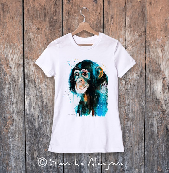Chimp Chimpanzee watercolor ladies' T-shirt, women's tees, Teen Clothing, Girls' Clothing, ring spun Cotton 100%, watercolor print