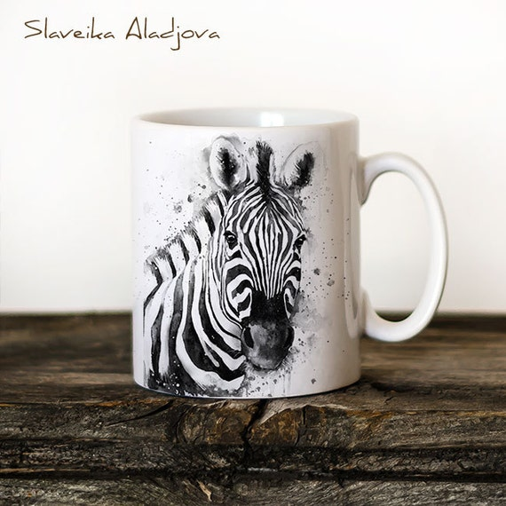 Zebra  Mug Watercolor Ceramic Mug Unique Gift Coffee Mug Animal Mug Tea Cup Art Illustration Cool Kitchen Art Printed mug
