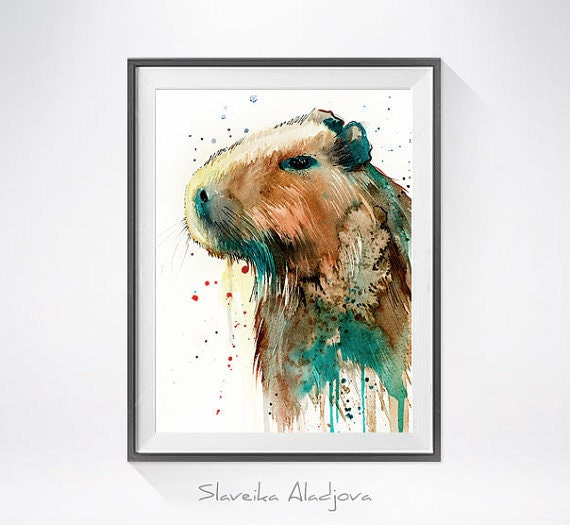 Original Watercolour Painting- Capybara art, Capybara Original , animal, illustration, animal watercolor, animals paintings, animals,