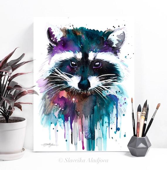 Raccoon watercolor painting print by Slaveika Aladjova, art, animal, illustration, home decor, Nursery, gift, Wildlife, wall art