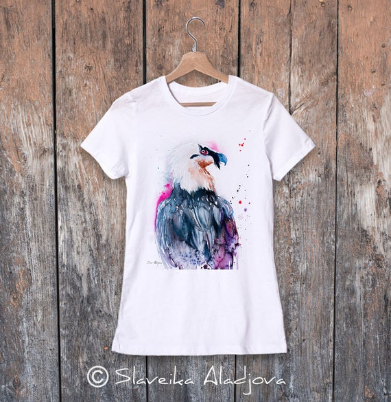 Bearded vulture watercolor ladies' T-shirt, women's tees, Teen Clothing, Girls' Clothing, ring spun Cotton 100%, watercolor print