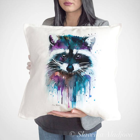 Raccoon throw pillow cover by Slaveika Aladjova, cushion cover, Decorative Pillow Cover, Animal Art, Watercolor pillow, Christmas gift