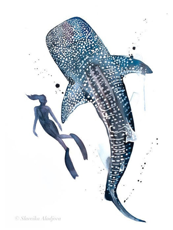 Original Watercolour Painting- Scuba Diving with Whale Shark watercolor art, animal, illustration, animal watercolor, animals paintings,