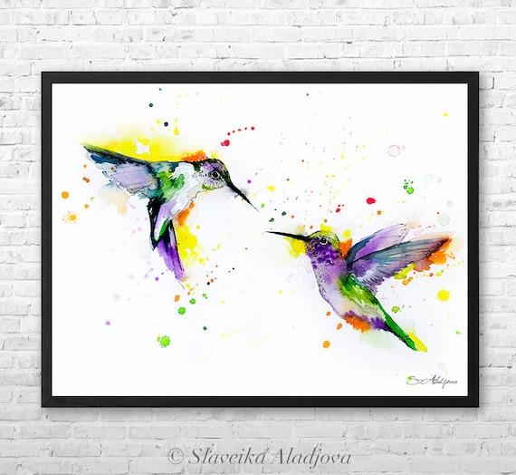 Hummingbirds Love watercolor framed canvas by Slaveika Aladjova, Limited edition, art, animal watercolor, animal illustration,bird art