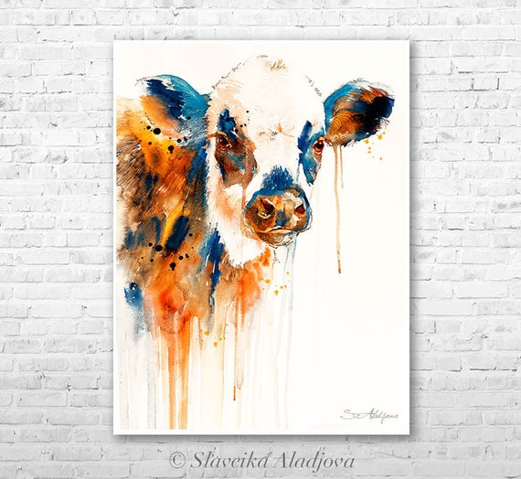 Cow watercolor painting print by Slaveika Aladjova, art, animal, illustration, home decor, wall art, gift, portrait, Contemporary