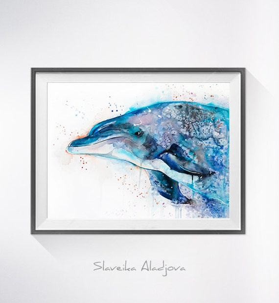 Original Watercolour Painting- Dolphin, Dolphin art, animal illustration, animal watercolor, animals paintings, animals, portrait,