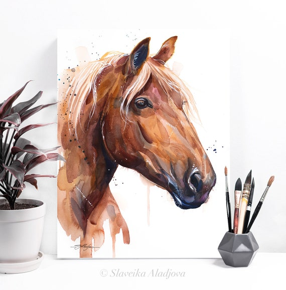 Suffolk Punch Horse watercolor painting print by Slaveika Aladjova, animal art, illustration, home decor, wildlife, Giclee Print, wall art,