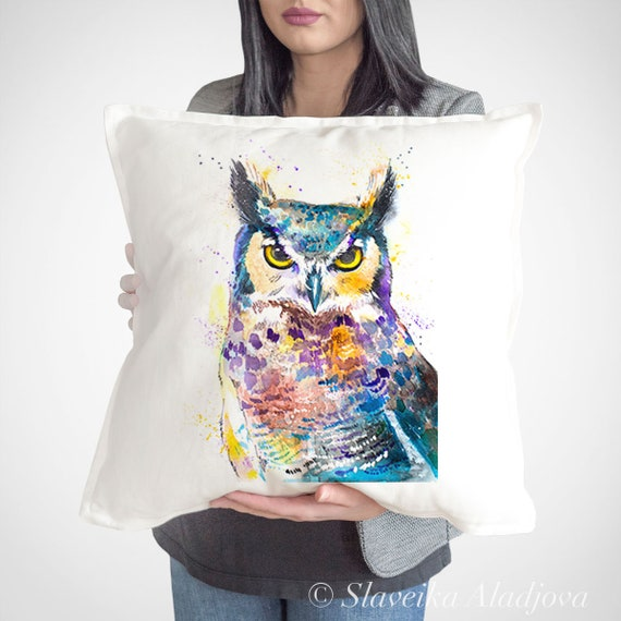 Owl Cushion Cover, Horned Owl throw pillow, Decorative Cushion Cover, Bird lover gift idea, Watercolor pillow, Cute owl print