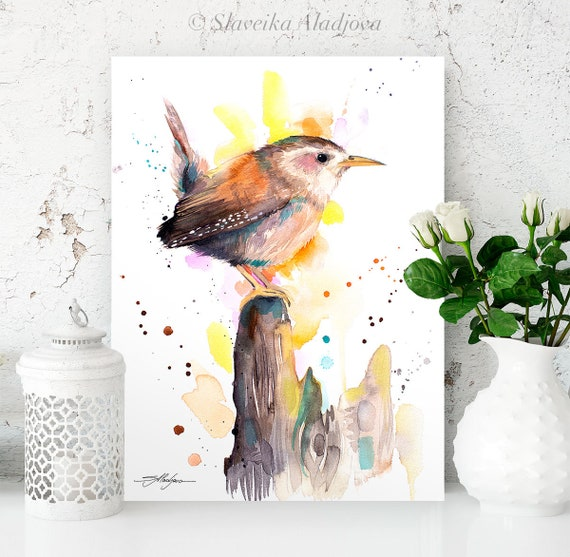 Wren watercolor painting print by Slaveika Aladjova, art, animal, illustration, bird, home decor, wall art, gift, portrait, Flower