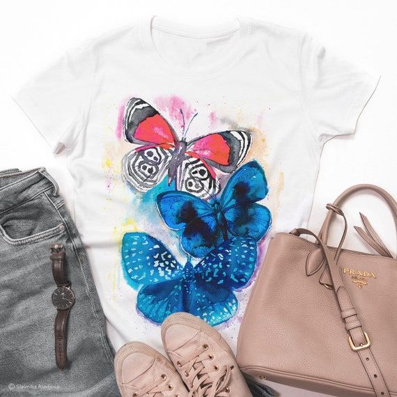 Blue and Red Butterfly watercolor ladies' T-shirt, women's tees, Teen Clothing, Girls' Clothing, ring spun Cotton 100%, watercolor print