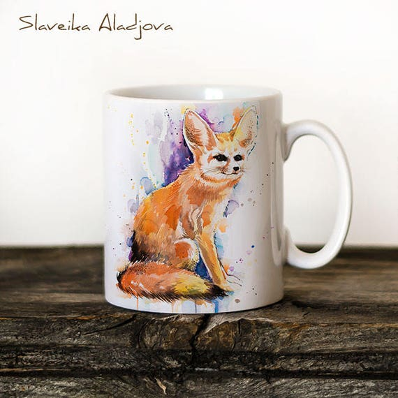 Fennec Fox Mug Watercolor Ceramic Mug Unique Gift Coffee Mug Animal Mug Tea Cup Art Illustration Cool Kitchen Art Printed mug