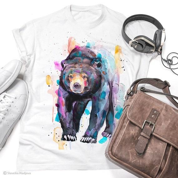 Sun bear, Honey bear T-shirt, Unisex T-shirt, ring spun Cotton 100%, watercolor T-shirt, T shirt art, T shirt animal, XS, S, M, L, XL, XXL