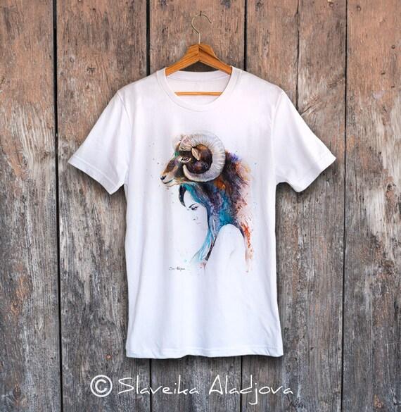 Mouflon Girl T-shirt, Unisex T-shirt, ring spun Cotton 100%, watercolor print T-shirt, T shirt art, T shirt animal,XS, S, M, L, XL, XXL
