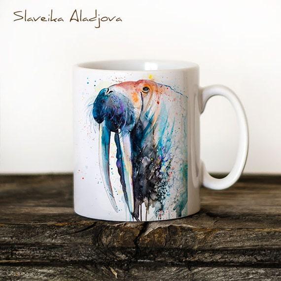 Walrus Mug Watercolor Ceramic Mug Elephant Unique Gift Coffee Mug Animal Mug Tea Cup Art Illustration Cool Kitchen Art Printed mug