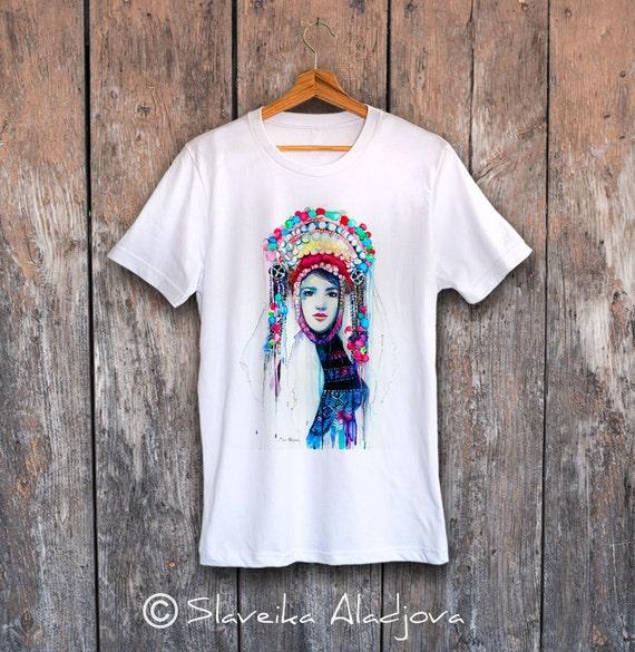Fashion Illustration T-shirt, Unisex T-shirt,ring spun Cotton 100%, watercolor T-shirt, T shirt art, T shirt animal, XS, S, M, L, XL, XXL