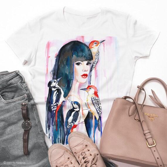 Girl woodpeckers watercolor ladies' T-shirt, women's tees, Teen Clothing, Girls' Clothing, ring spun Cotton 100%, watercolor print