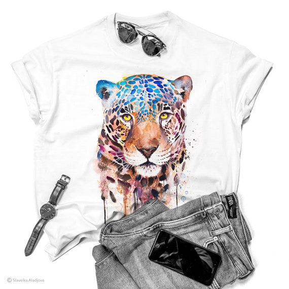 Jaguar T-shirt, Panther ladies' T-shirt, women's tees, Animal Lover Gift, Big cat T-shirt, ring spun Cotton 100%, watercolor print