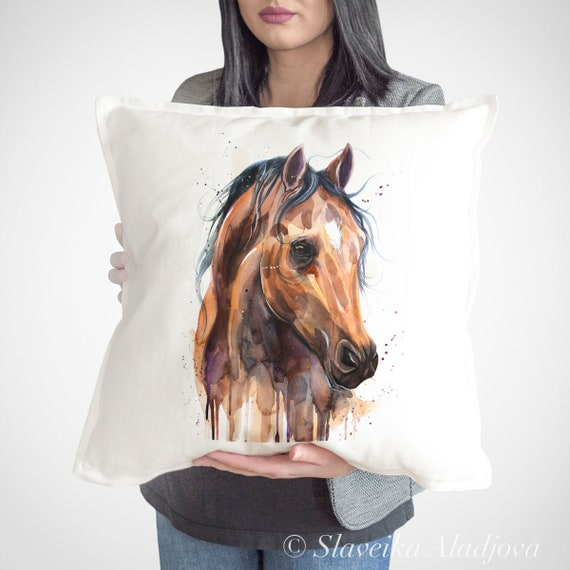 Thoroughbred Horse throw pillow cover by Slaveika Aladjova, cushion cover, Decorative Pillow Cover, Animal Art, Watercolor pillow, Christmas