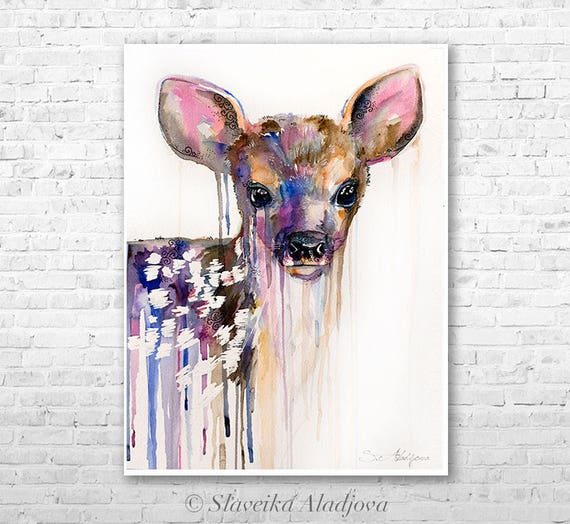 Deer watercolor 3 painting print by Slaveika Aladjova, art, animal, illustration, home decor, wall art, gift, portrait, Contemporary