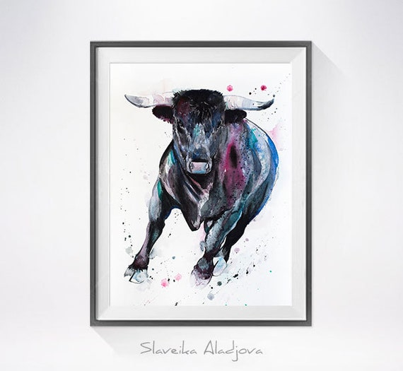 Original Watercolour Painting- Bull art, animal, illustration, animal watercolor, animals paintings, animals, portrait,