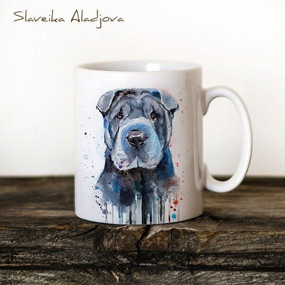 Shar Pei Mug Watercolor Ceramic Mug Unique Gift Coffee Mug Animal Mug Tea Cup Art Illustration Cool Kitchen Art Printed