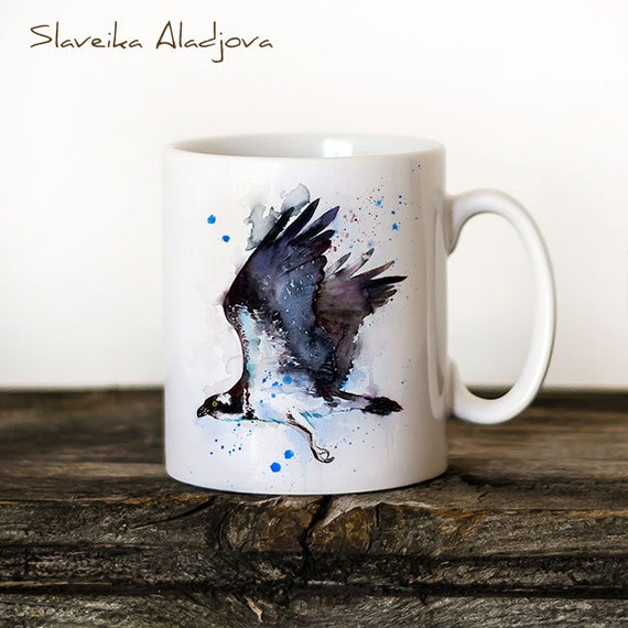 Osprey Mug Watercolor Ceramic Mug Unique Gift Coffee Mug Animal Mug Tea Cup Art Illustration Cool Kitchen Art Printed