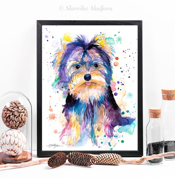 Yorkshire Terrier watercolor framed canvas by Slaveika Aladjova, Limited edition, art, animal watercolor, animal illustration, large print