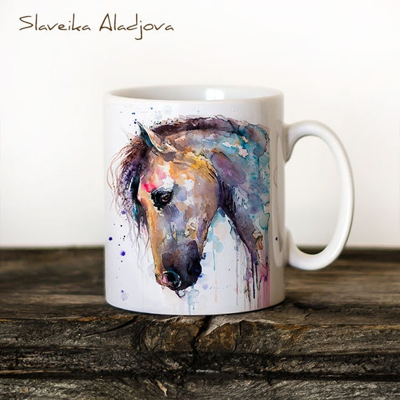 Horse Mug Watercolor Ceramic Mug Unique Gift Coffee Mug Animal Mug Tea Cup Art Illustration Cool Kitchen Art Printed mug bird