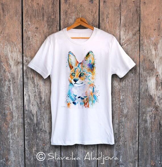 Serval T-shirt, Unisex T-shirt, ring spun Cotton 100%, watercolor print T-shirt, T shirt art, T shirt animal,XS, S, M, L, XL, XXL