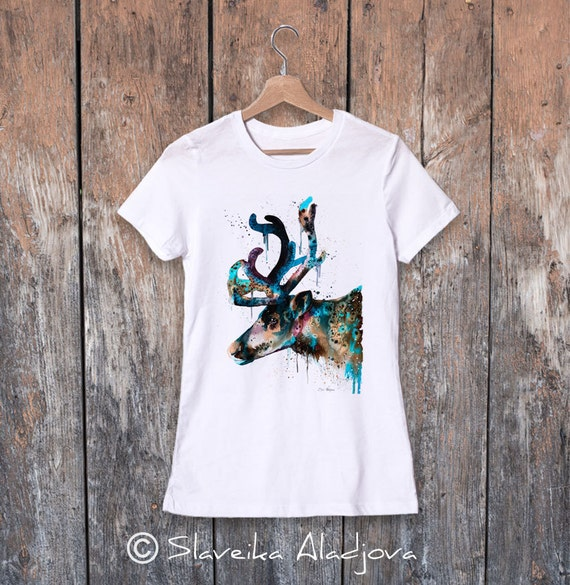 Reindeer watercolor ladies' T-shirt, women's tees, Teen Clothing, Girls' Clothing, ring spun Cotton 100%, watercolor print