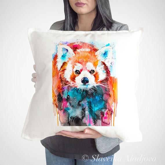 Red panda cushion cover, Panda throw pillow, Decorative cushion cover, Animal lover gift idea, Watercolor pillow, Cute panda print