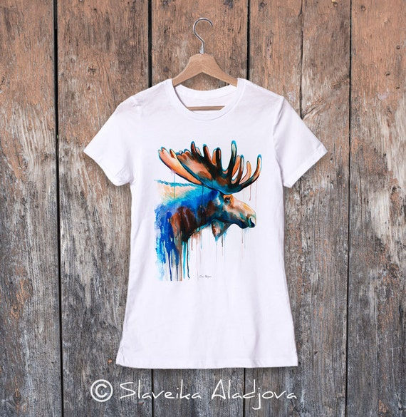 Moose watercolor ladies' T-shirt, women's tees, Teen Clothing, Girls' Clothing, ring spun Cotton 100%, watercolor print