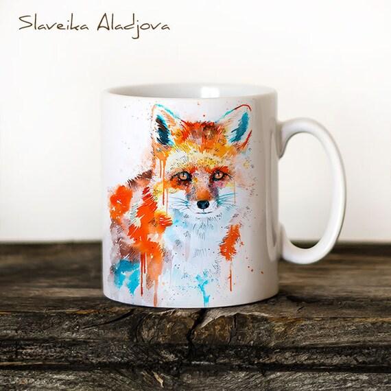 Fox Mug Watercolor Ceramic Mug Unique Gift Coffee Mug Animal Mug Tea Cup Art Illustration Cool Kitchen Art Printed mug