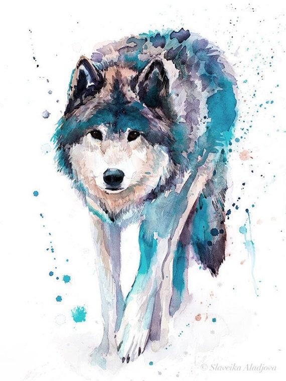 Original Watercolour Painting- Wolf art, animal, illustration, animal watercolor, animals paintings, animals, portrait,