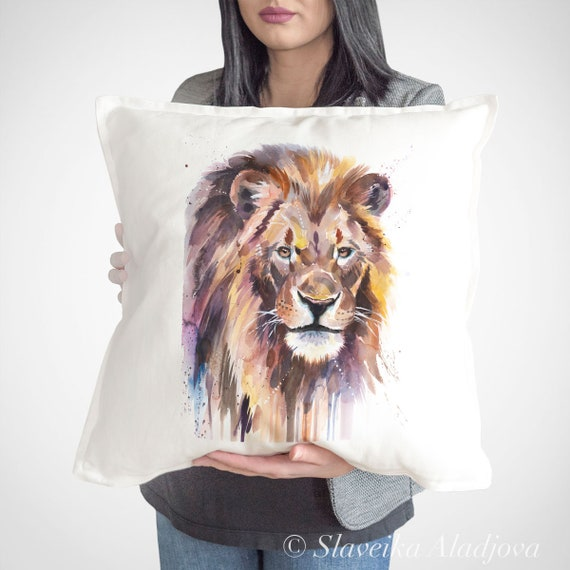 African Lion throw pillow cover by Slaveika Aladjova, cushion cover, Decorative Pillow Cover, Animal Art, Watercolor pillow, Christmas gift