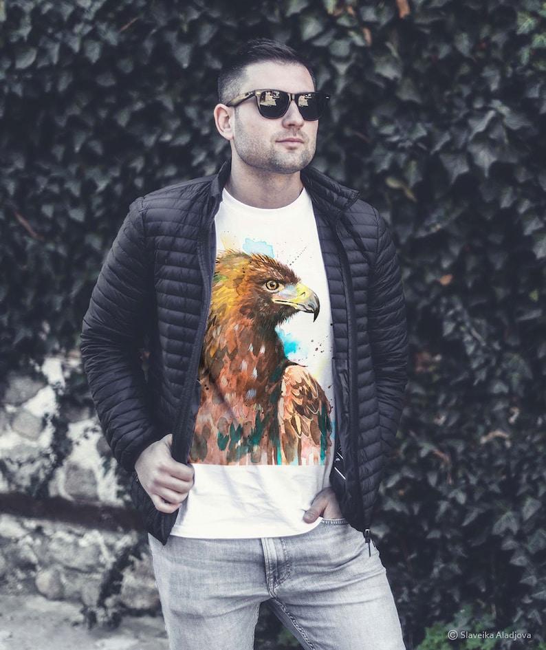 XXL Golden Eagle T-shirt Unisex XS Kids models S Watercolor Bird Art Print XL L Women Graphic Tees M Animal Cotton 100/%