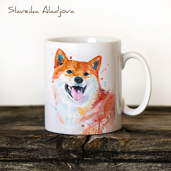Shiba Inu Mug Watercolor Ceramic Mug Unique Gift Coffee Mug Animal Mug Tea Cup Art Illustration Cool Kitchen Art Printed