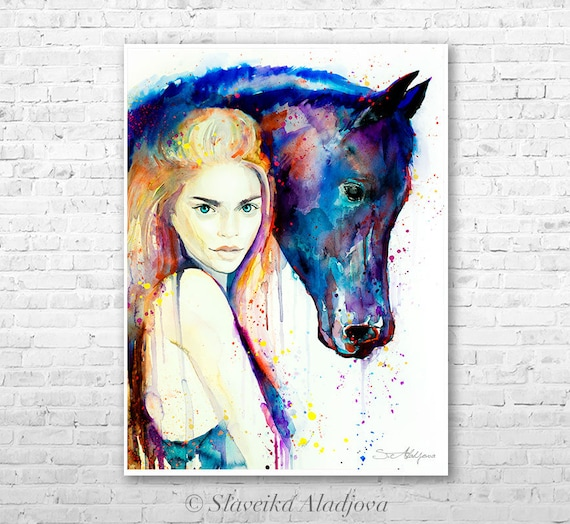 Horse Girl watercolor painting print by Slaveika Aladjova, Fashion Illustration, Woman art, Illustration, watercolour, wall art, home decor