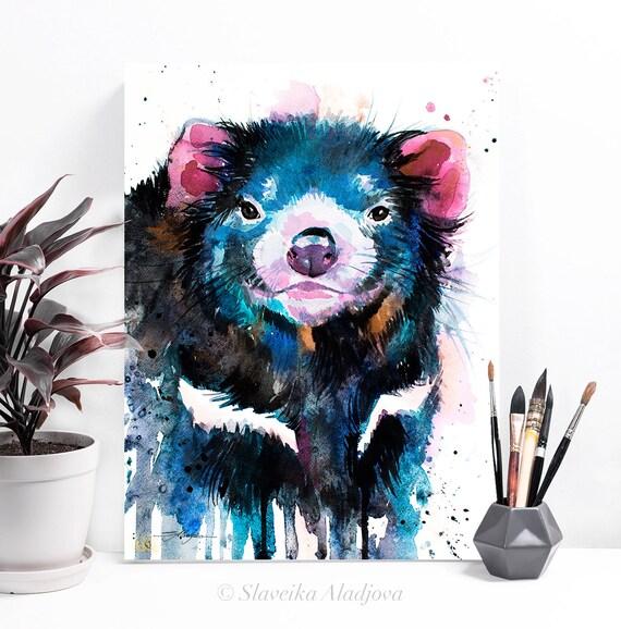 Tasmanian devil watercolor painting print by Slaveika Aladjova, art, animal, illustration, home decor, Nursery, gift, Wildlife, wall art
